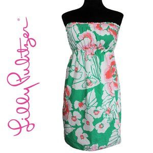Lilly Pulitzer Green Pink Floral Strapless Dress L